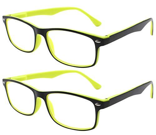 Tboc occhiali da vista lettura presbiopia - (pack 2 unità) +2.00 diottrie montatura bicolore gialla e nera fashion leggeri quadrati da vicino per computer donna e uomo unisex aste con cerniere con molla