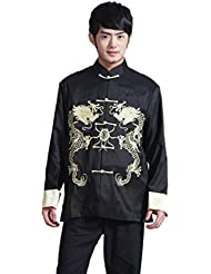 Bigood Veste Kung-fu Homme Satin Blouson Chinois Traditionnel Dragon Brodé