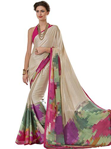 Vastrang Sarees Women's Crepe Saree With Blouse Piece (2267B,Multicolor,Free Size)