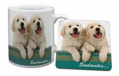 Advanta - Mug Coaster Set Golden Retriever Welpen 'Soulmates Becher und Untersetzer Tier Weihnachtsgeschen