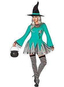 Atosa 26206 Disfraz bruja verde adulto M-L, talla mujer