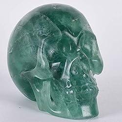 JNBDHSF Calavera de cristal de fluorita natural, a mano, 5 pulgadas