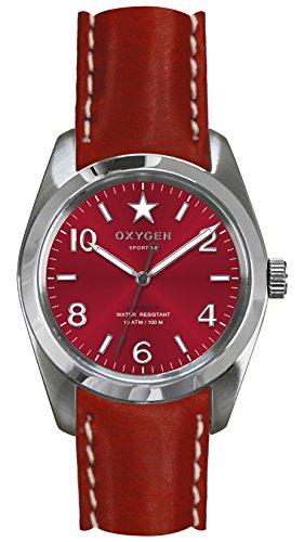 OXYGEN - EX-S-RUB-38-CL-RE - Montre Mixte - Quartz - Analogique - aiguilles luminescentes - Bracelet Cuir Rouge