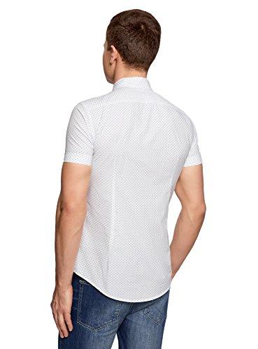 oodji Ultra Uomo Camicia Stampata con Maniche Corte Bianco (1075G)