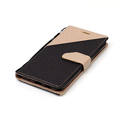 """Coque ZenFone 3 (ZE520KL) 5.2"""",Etui ZenFone 3 (ZE520KL) 5.2"""",Surakey ZenFone 3 (ZE520KL) 5.2"""" Étui Housse Coque Protecteur Clapet Portefeuille Cuir PU, Luxe Mode Sensation de Matte Couleur de épissure Ultra Slim à Rabat Flip Portefeuille Bookstyle Housse de Protection Coque Étui Case Cover Wallet Coque de Protection Cuir avec Flex Soft Silicone TPU et Fonction Support Fermeture Aimantée Carte de crédit Logement Poches Case Flip Couverture Cover pour ASUS ZenFone 3 (ZE520KL) 5.2"""",Noir+Or"""