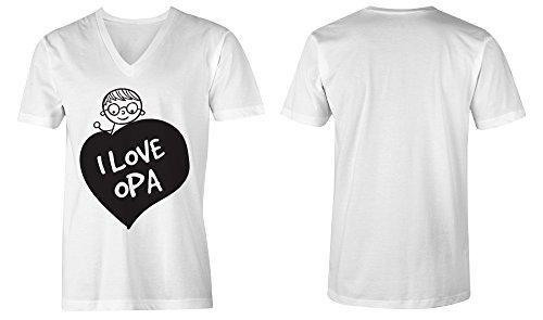 I Love Opa ★ V-Neck T-Shirt Männer-Herren ★ hochwertig bedruckt mit lustigem Spruch ★ Die perfekte Geschenk-Idee (02) weiss