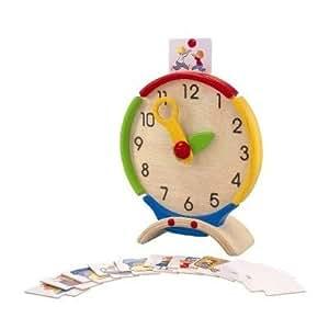 Plan Toys - Jeu Educatif - J'apprends l'heure, Horloge éducative en bois