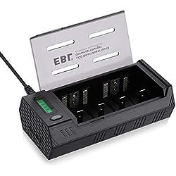 EBL 908 Chargeur Universel Rapide pour Piles Rechargeables AA AAA C D 9V NI-MH NI-CD avec Écran LCD