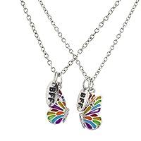 Lux Accessories Silver Tone Enamel Butterfly BFF Best Friends Necklace Set