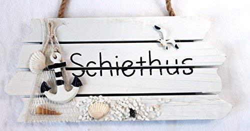 Türschild Badezimmer SCHIETHUS Holz 28 x 13 cm Serie STRAND -