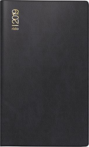 rido/idé 704537290 Taschenkalender/Faltkalender Miniplaner d12, 2 Seiten = 1 Monat, 87 x 153 cm, Kunststoff-Einband schwarz, Kalendarium 2019