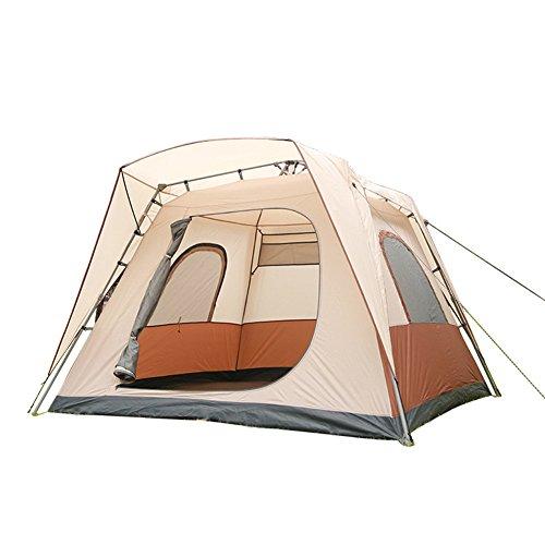 Mqhy tenda libera di costruire automatico 1 secondo veloce pop up tenda 5-8 persone grandi tenda impermeabile antivento traspirante lucernario tenda famiglia outdoor viaggi campeggio tenda beige 260cm * 260cm * 185cm