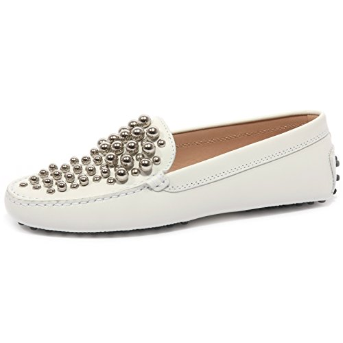 Tod's B1551 Mocassino Donna Gommini Bolle Scarpe Bianco Loafer Shoes Women [37]