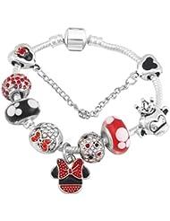 4272b77e7064 QWERST Bracelet Antigüedades De Estilo Catoon Charm Bracelet Chapado En  Plata Fina Abalorios De Cristal De