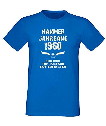 Sprüche Motiv Fun T-Shirt Geschenk zum 57. Geburtstag Hammer Jahrgang 1960 Farbe: schwarz blau rot grün braun auch in Übergrößen 3XL, 4XL, 5XL blau-02