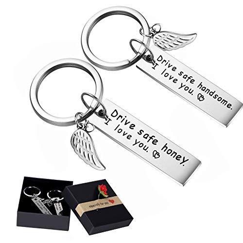 Joinfun Couple Porte-clés 2Pack Drive Safe Keychains Valentines Porte-clés  avec pendentif aile Je t'aime porte-clés pour camionneur papa mari copain