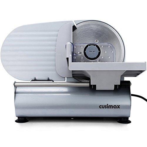 Cusimax 150W Elektrische Allesschneider mit 19cm Klinge, Präzisions Fleisch, Käse, Brot Allesschneider für den Hausgebrauch, CMFS-200, Silber