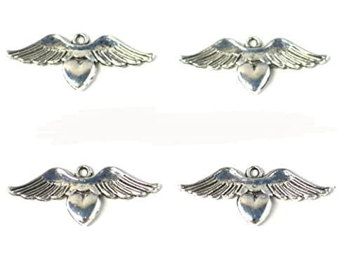 6 x LARGE Antique Silver Plated 'Angel HEART Wings' Charms (34mm) with Jump Rings included for attachments. Universal use for Jewellery Making, Card Making and Scrap-Booking. Check out our Fantastic Wide Range of Beads, Charms and Findings.