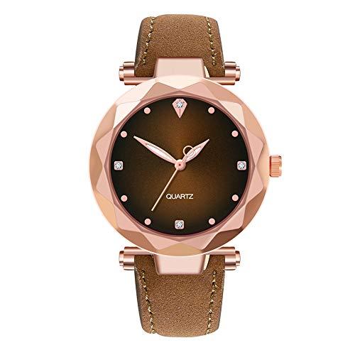 YUHUISTART Damenuhr Rosegold Lederarmband Uhr Analog Quarzuhr Armbanduhr mit Diamant Glas Zifferblat und Glasstein Dial Uhr Elegante Uhr für Frauen Klassische Uhren Freizeit Uhr Damen (Dunkelbraun)