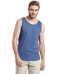 Rigo Blue Back Printed With Round Bottom Sleeveless Vest For Men