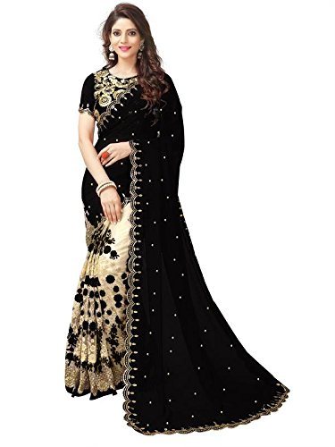 Koroshni Women's Georgette Embroidery Hlaf And Half Black Coloured Saree With Blouse...