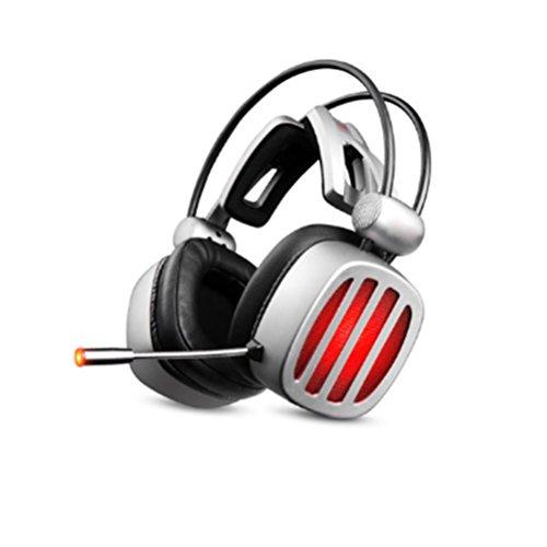 s4, LED Licht 3,5 Mm Stereo Gaming Kopfhörer Headset Stirnband Mit Mikrofon Für PC Computerspiel Mit Noise Cancelling & Lautstärkeregler Professional Gaming Headset,Gray (Usb-ofen)