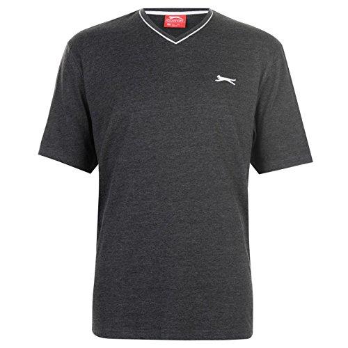 Slazenger Herren V-Ausschnitt T Shirt Kurzarm Tee Top Bekleidung Grau XXXXL -
