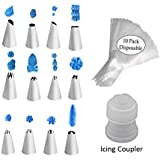 Syga Stainless Steel Multiple Pattern Russian Cake Decoration Nozzles With Coupler And Icing Bag (Silver, Set Of 12 Nozzle_Set 1) - Set Of 12