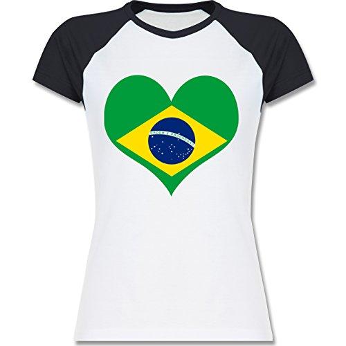 Shirtracer Länder - Brasilien Herz - Zweifarbiges Baseballshirt/Raglan T-Shirt für Damen Weiß/Navy Blau