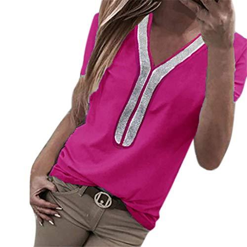 VEMOW Camisetas Moda Mujer Casual Lentejuelas de Manga Corta con Cuello en v Tops Blusa Casual Camiseta(S Rosa Caliente,M)