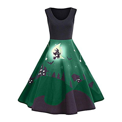 Biback Vintage-Stil Damen Kleider Hepburn Halloween Muster mit Flammenmuster Mehrfarbiges ärmelloses Kleid Party