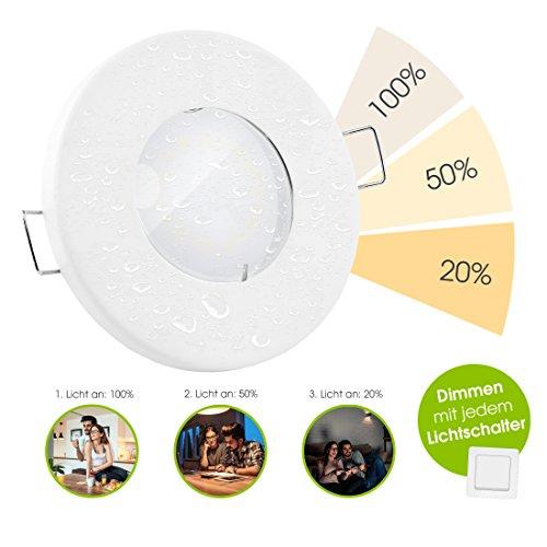 linovum® LED Bad Einbauleuchte fourSTEP 5W flach IP65 dimmen ohne Dimmer weiß mit Wasserschutz für innen oder außen warmweiß