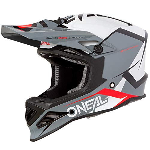 O'Neal 8Series Blizzard MX Motocross Helm Motorrad, Grau, M, 0614-B - Serie Off Road Hose