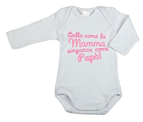BabyVip - Body Bimbo Bimba Neonato Neonata Manica Lunga 100% Cotone Caldo - 3-6 mesi