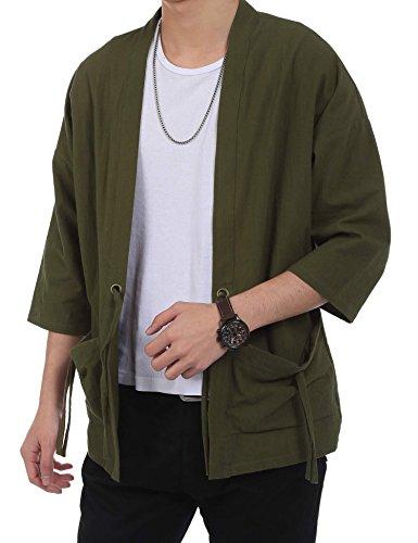 Burlady Herren Japan Happi Kimono Haori Jacke Übergangsjacke Mäntel Armeegrün