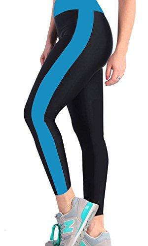 iLoveSIA® Leggings de sport Femme- Pantalons Capri Jogging YOGA Collants (Liquidation totale) 1094 Noir/Bleu foncé bicolore
