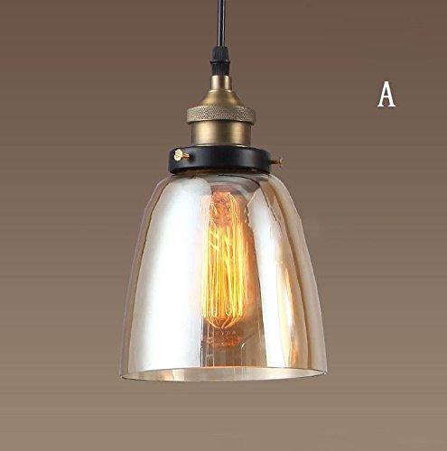 UPCHEN Vintage Bernstein Glas Glocke Schatten Retro Industrial Edison hängen Anhänger Deckenleuchte Loft Bar Küche Insel Kronleuchter E27 (Metall), A -