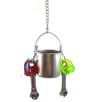 KaariFirefly Birds Parrots Stand Hanging Stainless Steel Food Cup Holder Swing with 2 Spoons - Random Color L 5