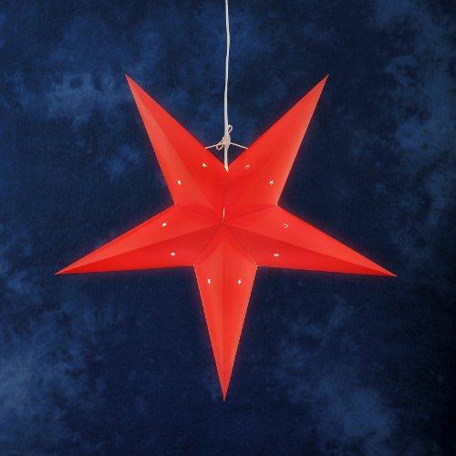Konst Smide 2964-500 - Estrella con luz para interior (altura de 70cm, se incluye cable de corriente e interruptor, 1 bombilla E14 no incluida, 230V, cable blanco), color rojo