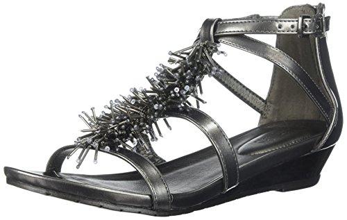 Kenneth Cole REACTION Women's Fringe T-Strap Wedge Sandal, Pewter, 7 Medium US - Groß Fringe Boot