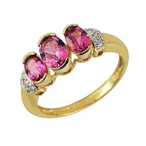 Ivy Gems 9ct Yellow Gold Pink Tourmaline and Diamond Ring Size K