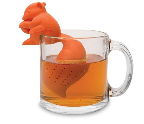 Kingken creative silicone scoiattolo a forma di foglia di tè colino filtro per utensili da cucina (colore casuale)