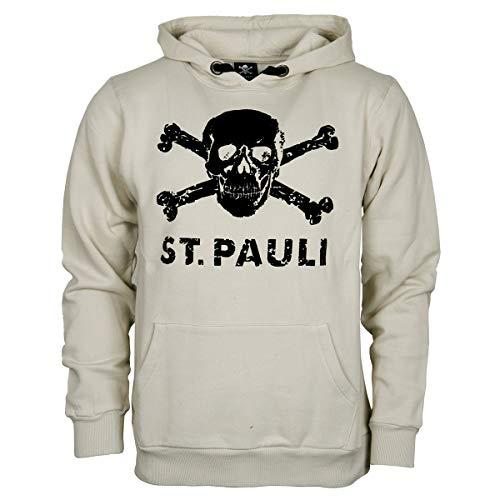 FC St. Pauli Herren Pullover Hoodie Kapuzenpullover Fanartikel Old School Totenkopf Off White Weiß (M) - Zutaten Shop Kollektion