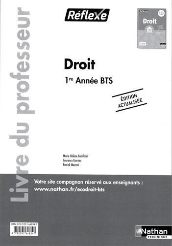 Droit BTS 1re année BTS  Réflexe : Livre du professeur