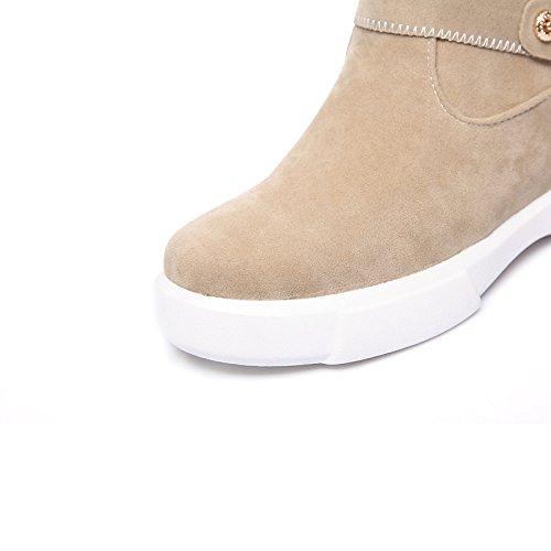 HSXZ Scarpe da donna in pelle Nubuck vello Fall Winter Snow Boots Fashion Stivali Stivali Bootie Round Flat Toe stivaletti/stivaletti stivali Mid-Calf Green