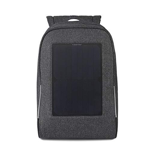 ZWYY Solar Rucksack, USB Laptop Tablet Bags Anti-Diebstahl Große Kapazität Bergsteigen Rucksack Outdoor-Sportbereich Wasserdichter Knapsack,Black,44 * 36 * 13cm