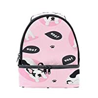 Mnsruu French Bulldog Puppy Dog Shoulder Double Lunch Box Insulated Lunch Tote Bag for Picnic School Outdoor