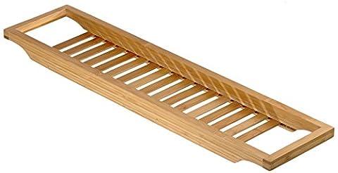 Relaxdays Pont de Baignoire Salle de Bain Rangement en bois de Bambou avec grille Shampooing HxlxP : 4 x 64 x 15 cm bougie livre verre accessoires de douche produits détente relaxation, nature