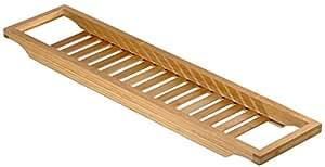 relaxdays pont de baignoire salle de bain rangement en bois de bambou avec grille shampooing. Black Bedroom Furniture Sets. Home Design Ideas