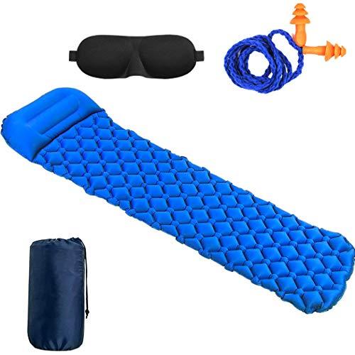 Mfshiye Luftmatratze Self-Inflating Mat Aufblasbare Luftmatte Isomatten, Schlafmatte für Outdoor, Reise, Strand (Blau)